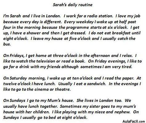 preguntas en perfecto aleman sarah s daily routine ingles ingl 233 s basico aula facil