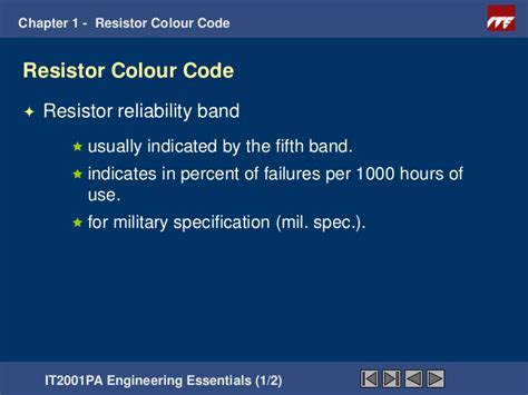 resistor reliability band resistor reliability band 28 images chapter1 resistors color coding ecen 1400 intro to