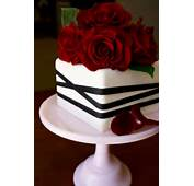 Small Square Anniversary Cake Just For Two Made Of Red Velvet And