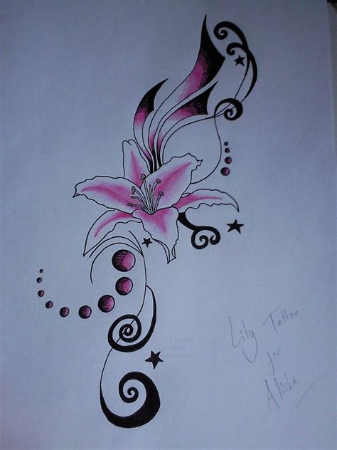 blue lily tattoo design 63 with tattoos ideas