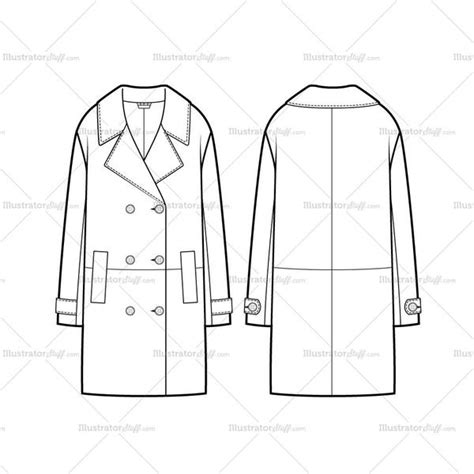 coat template breasted oversized coat flat template illustrator
