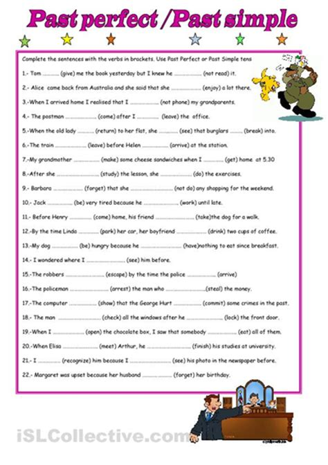 past simple past perfect exercises worksheet