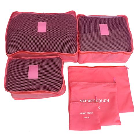 6pcs waterproof clothes storage travel luggage organizer bags packing cube pouch ebay