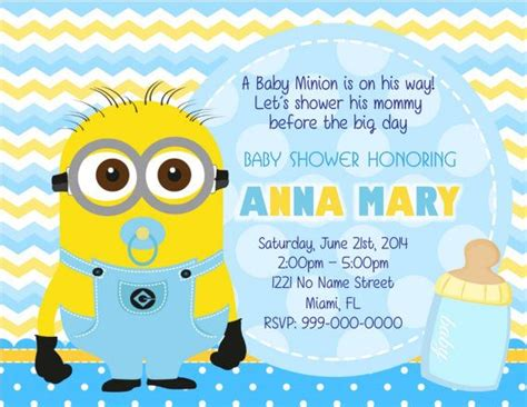 Baby Minion Despicable Me Quotes Quotesgram Minion Baby Shower Invitation Template