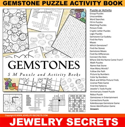 gemstone puzzle activity book jewelry secrets