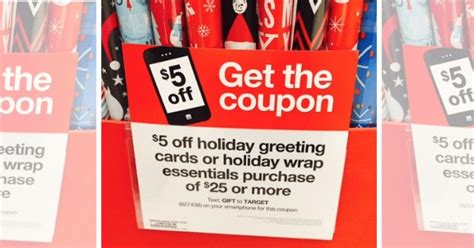 Target 5 Off Gift Cards - new target mobile coupon 5 off a 25 holiday cards gift wrap purchase living rich