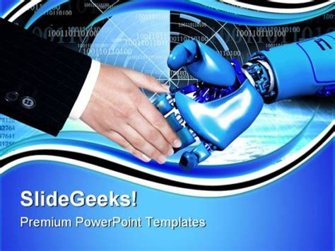 Handshake With Robot Communication Powerpoint Templates And Powerpoint Backgrounds 0711 Robot Powerpoint Template