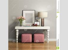 Elegant Chic Brown Console Table With Stools Stock ... 1 Bedroom Apartment Interior Design