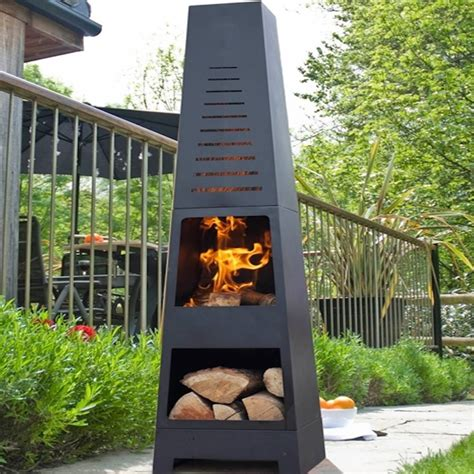 Clay Patio Heater Skyline Chiminea Patio Heater And Log Store By Oxford