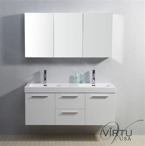 54 Inch Vanity Sink 54 inch sink bathroom vanity in gloss white