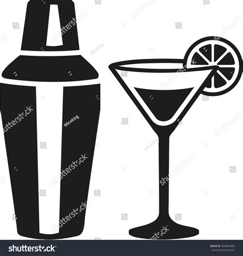 shaker vector cocktail glass with shaker stock vector
