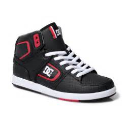 dc shoes black factory lite mens high top leather trainers