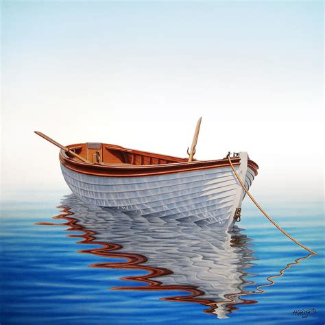 boat art boat in a serene sea painting by horacio cardozo