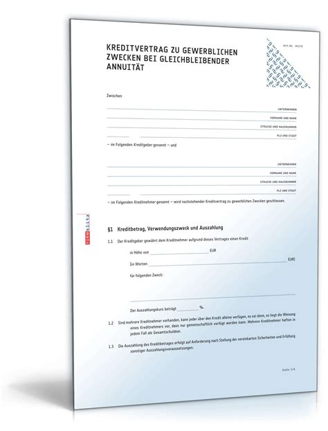vorlage kreditvertrag privat muster kreditvertrag gewerblich bei gleichbleibender annuit 228 t