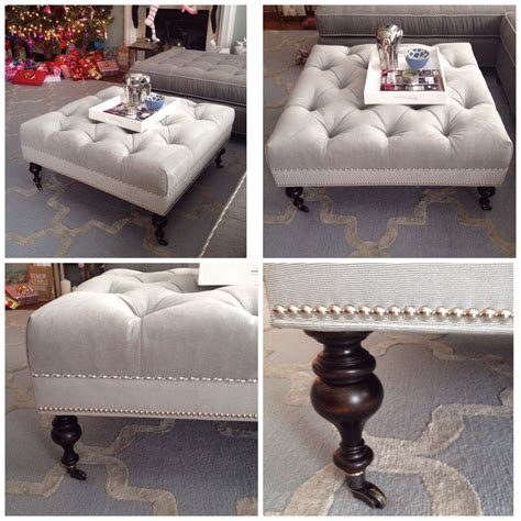 tufted ottoman with legs grey tufted ottoman with legs nailhead detail