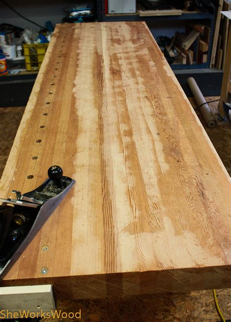 how to make a wooden bench top flattening the workbench top she works wood
