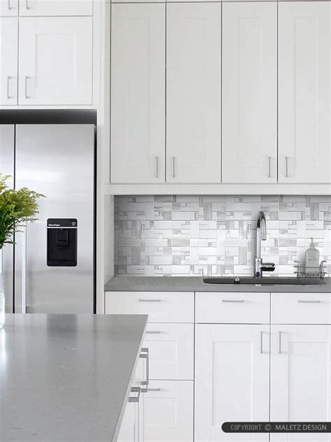 white glass metal modern backsplash tile for contemporary
