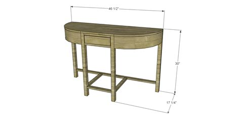build a console table free plans to build a demilune console table