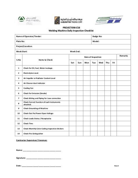 Weekly Welding Machine Checklist Machine Checklist Template