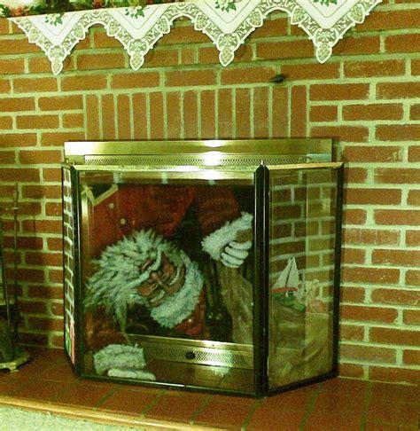 santa fireplace screen s painted screens