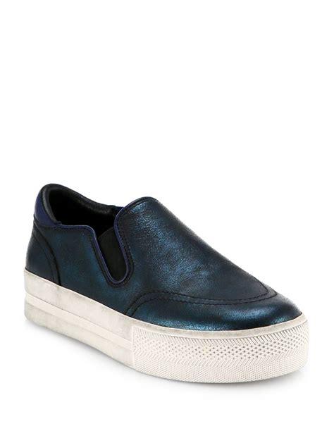 ash platform sneakers ash jungle metallic leather platform sneakers in blue