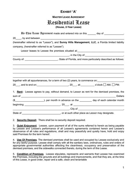 Florida Residential Lease Agreement In Word And Pdf Formats Florida Residential Lease Template