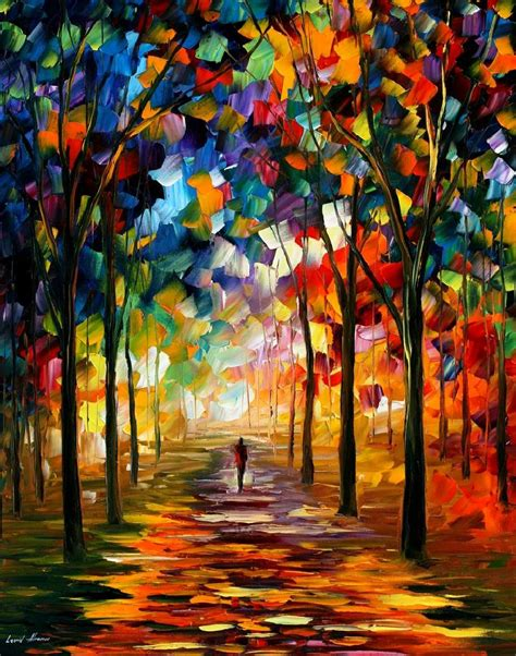 painting with colours forest path palette knife painting on canvas by