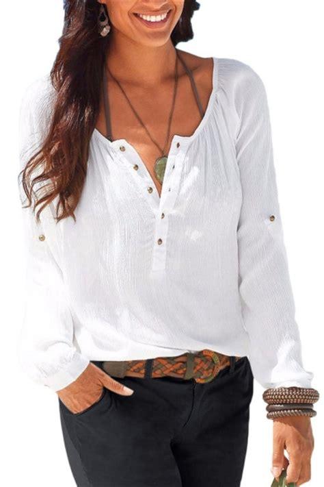 Ty Hk Button Blouse leisure scoop neck button fly front sleeve plain blouse quality unique shirts blouses