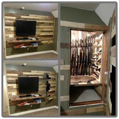 diy hidden storage hidden gun storage above a stairway using pallet wood a