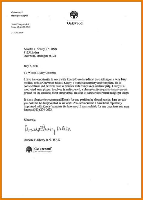6 nursing letter of recommendation assistant cover letter
