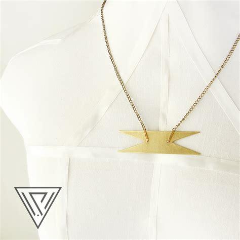 stelae brass gold necklace metalwork jewelry geometric