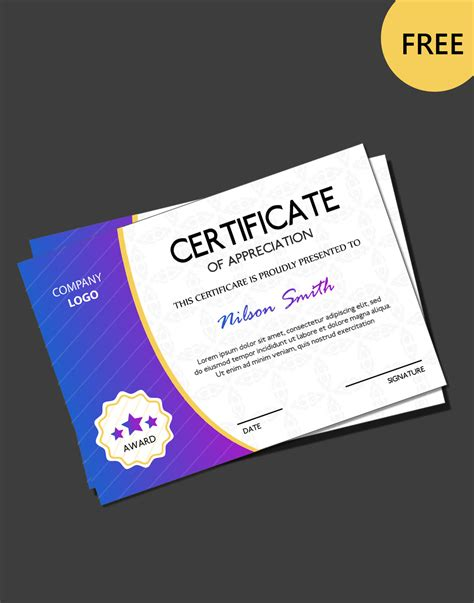 free certificate template psd free certificate psd templates
