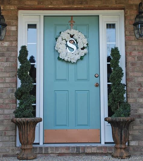 blue door painted hardware using rustoleum aged copper i like the contrast house ideas