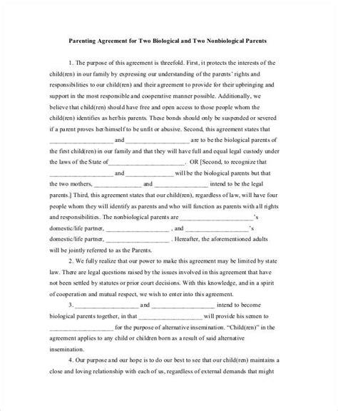 child custody agreement template template design