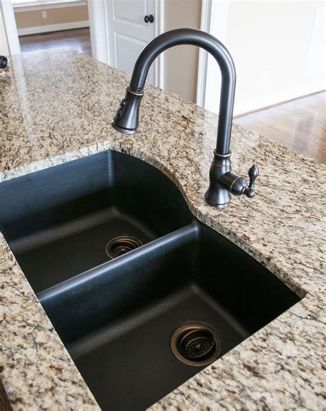 black kitchen sink faucets black granite composite sink with kohler rubbed bronze