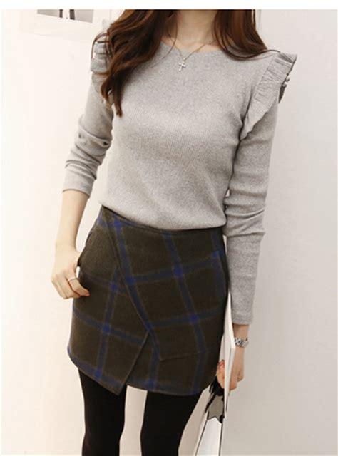 womens pencil skirt plaid wool blue grey pockets