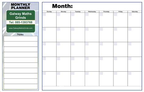 monthly weekly planner template time table templates galway maths grinds