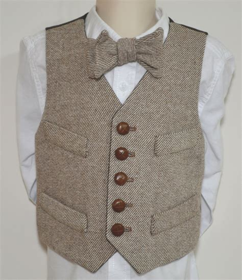 Handmade Vest - boys vest wool herringbone tweed 100 cotton or acetate