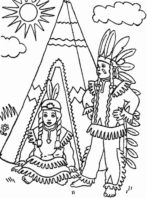 northwest indian coloring pages two native american in front of teepee day on colouring