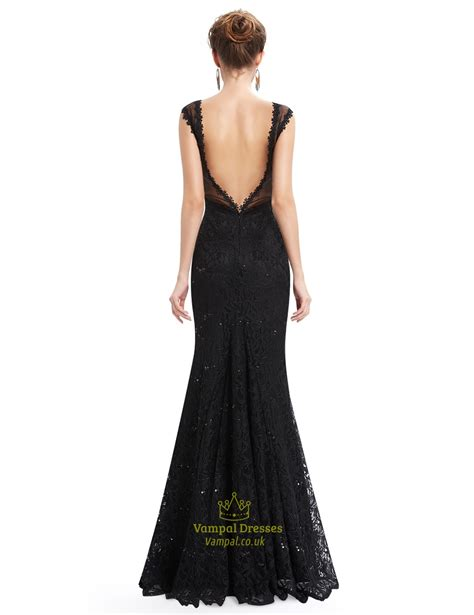 black floor length illusion neck prom dress with lace