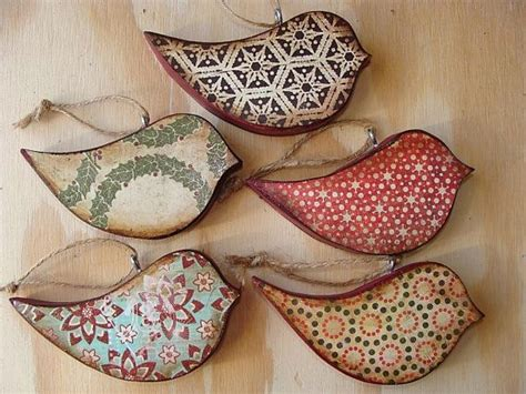 Handmade Wooden Ornaments - handmade rustic vintage look wood bird ornaments