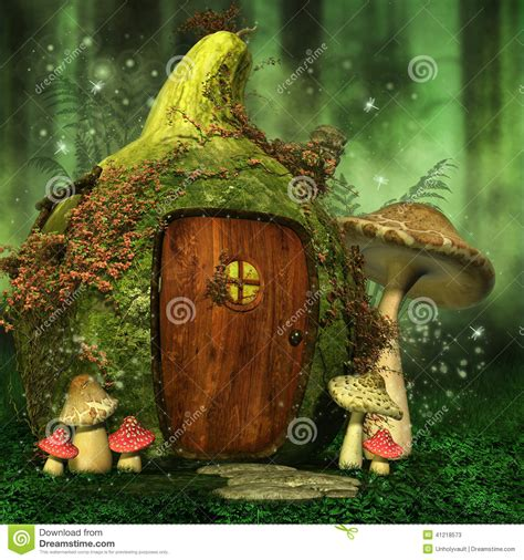 Green House Plans by Little Fairy House With Mushrooms Stock Illustration