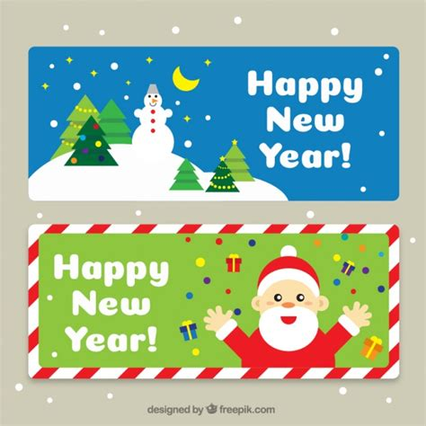 free vector new year banner happy new year banners with characters in flat design