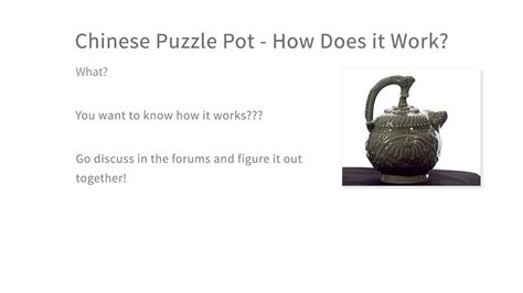chinese puzzle pot    work intro