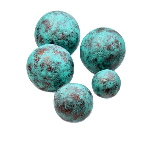 decorated balls copper and turquoise blue handmade papier mache accent