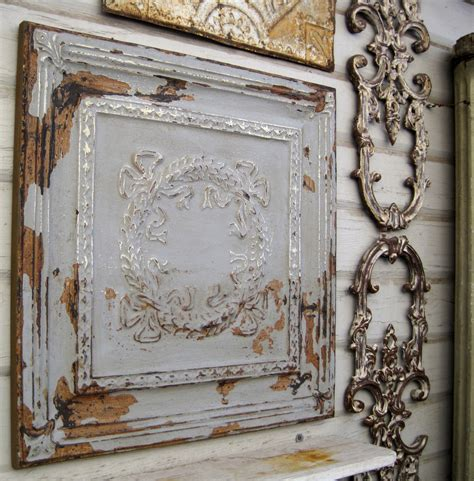 framed 2 x2 antique ceiling tin tile original chippy