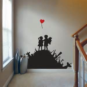 Banksy Wall Art Stickers Banksy Kids On Arms Pile Wall Decal Art Sticker Lounge