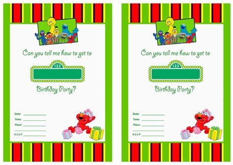 sesame birthday card template free printable sesame birthday invitations