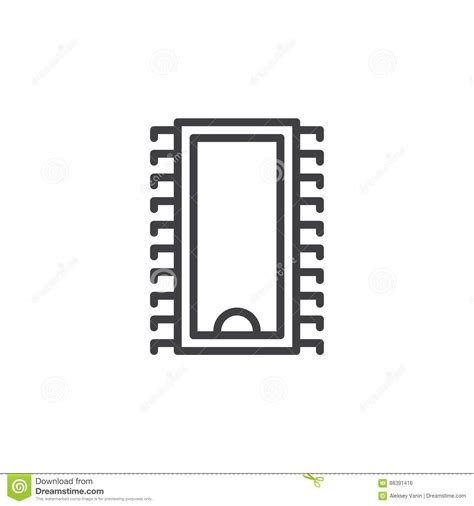 symbol of an integrated circuit integrated circuit microchip line icon outline vector sign linear style pictogram isolated on