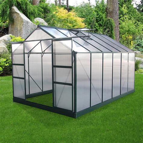 abri de jardin polycarbonate serre de jardin 8 9m 178 en alu laqu 233 vert et polycarbonate 4mm embase